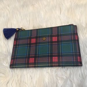 J Crew Plaid Leather pouch with royal tassel